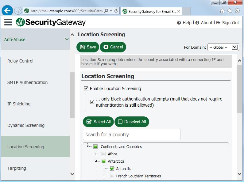 使用Security Gateway中的电子邮件进行位置筛选来阻止来自未授权国家的电子邮件