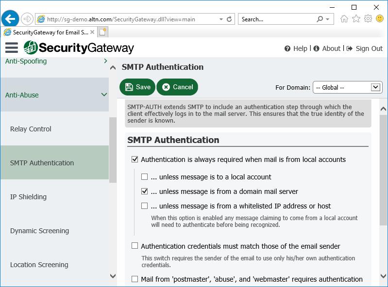 电子邮件服务器的安全网关中的SMTP身份验证设置