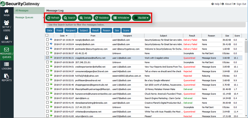使用顶部的按钮搜索邮件,查看邮件详细信息,重新发送,加入白名单或加入黑名单或执行其他操作。