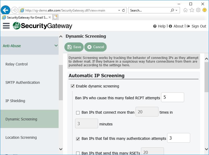 电子邮件服务器的安全网关中的动态筛选设置
