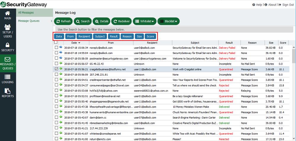 使用蓝色按钮启用或禁用SecurityGateway消息列表中的列