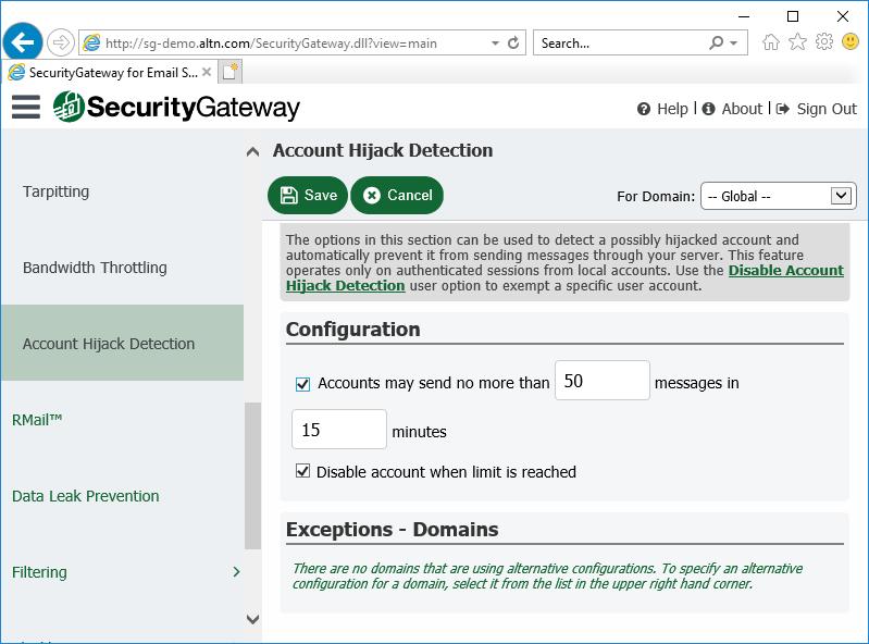 通过电子邮件服务器的安全网关中的帐户劫持检测来防止受到破坏的电子邮件帐户被滥用