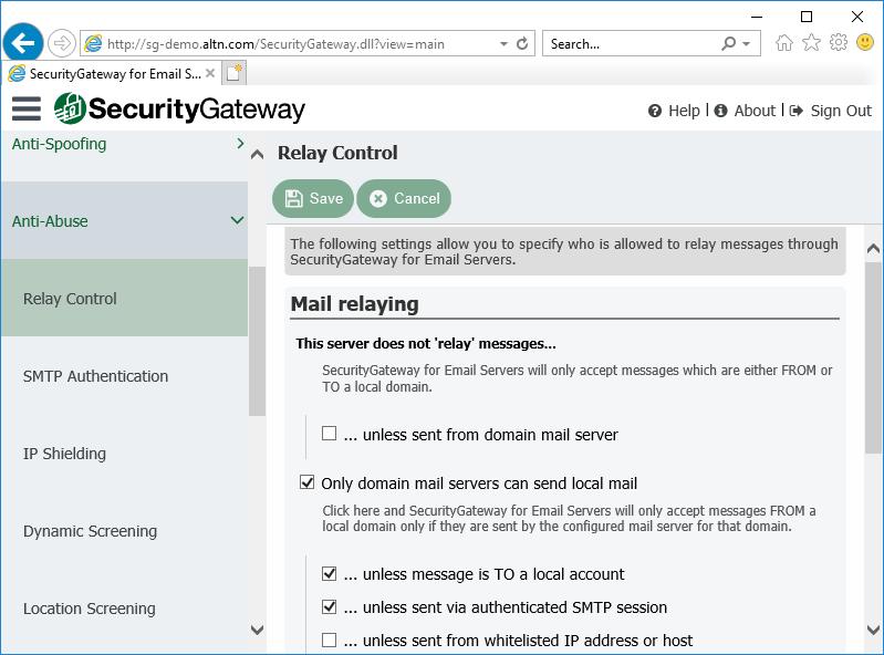 电子邮件服务器的安全网关中的中继控制设置