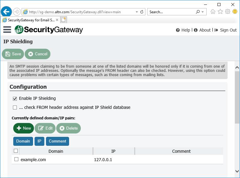 通过电子邮件服务器的安全网关中的IP防护来防止电子邮件欺骗
