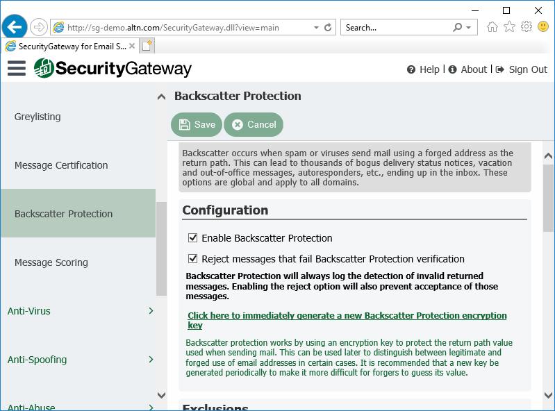 电子邮件服务器的安全网关中的反向散射保护设置